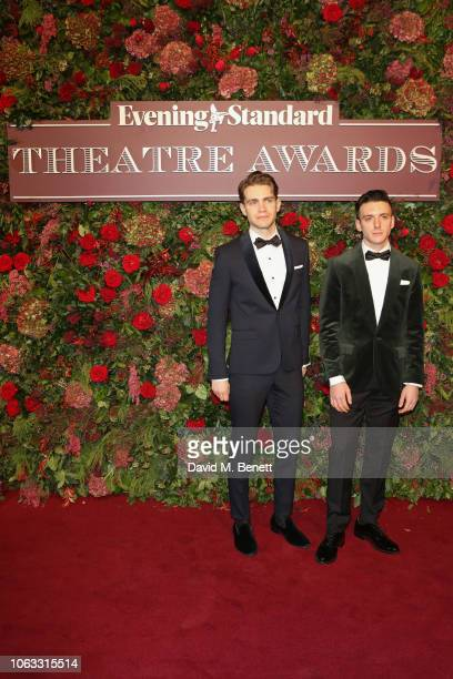 Andrew Burnap and Samuel Levine arrive at The 64th Evening Standard Theatre Awards at the Theatre Royal Drury Lane on November 18 2018 in London...