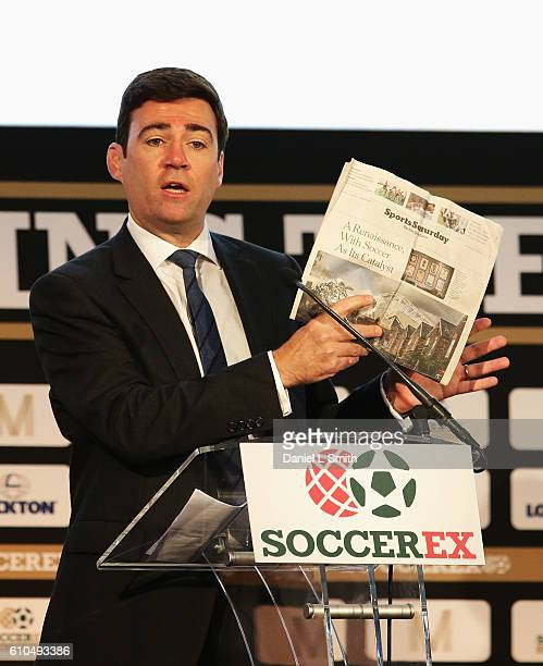 Andrew Burnham, Shadow Home Secretary talks during day 1 of the Soccerex Global Convention 2016 at Manchester Central Convention Complex on September...