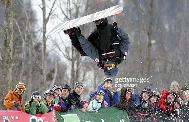 Andrew Burton of Australia catches some air during the men's FIS World Cup Snowboard Halfpipe 10 March 2007 in Wilmington NY Burton finished in...