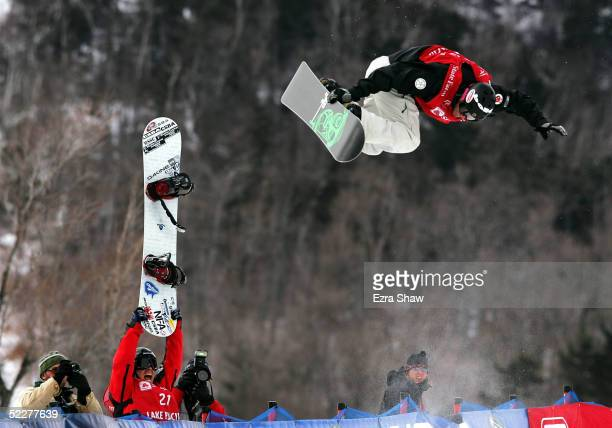 Andrew Burton of Australia competes during the Nokia Halfpipe Snowboard FIS World Cup on March 4 2005 at Whiteface Mountain in Lake Placid New York