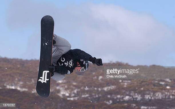 Andrew Burton of Australia in action in the Men's Snowboard Big Air event during day 3 of the Planet X Winter Extreme games held at Perisher Valley...
