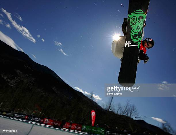 Andrew Burton of Australia who came in sixth place practices for the Men's Halfpipe Finals in the Nokia Snowboard FIS World Cup on March 5 2005 at...