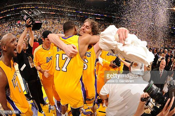 Andrew Bynum and Pau Gasol of the Los Angeles Lakers celebrate after defeating the Boston Celtics 8379 in Game Seven of the 2010 NBA Finals on June...