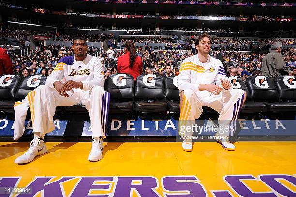 Andrew Bynum and Pau Gasol of the Los Angeles Lakers look on from the bench before a game against the Utah Jazz at Staples Center on March 18 2012 in...