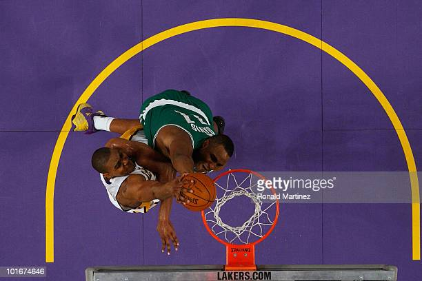 Andrew Bynum of the Los Angeles Lakers attempts a dunk against Glen Davis of the Boston Celtics in Game Two of the 2010 NBA Finals at Staples Center...