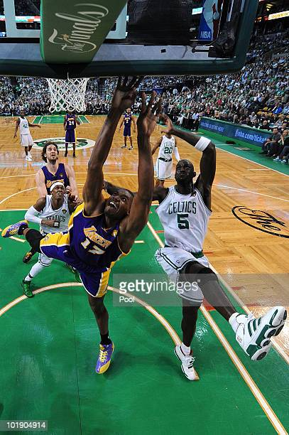 Andrew Bynum of the Los Angeles Lakers attempts a shot against Kevin Garnett of the Boston Celtics in Game Three of the 2010 NBA Finals on June 8...