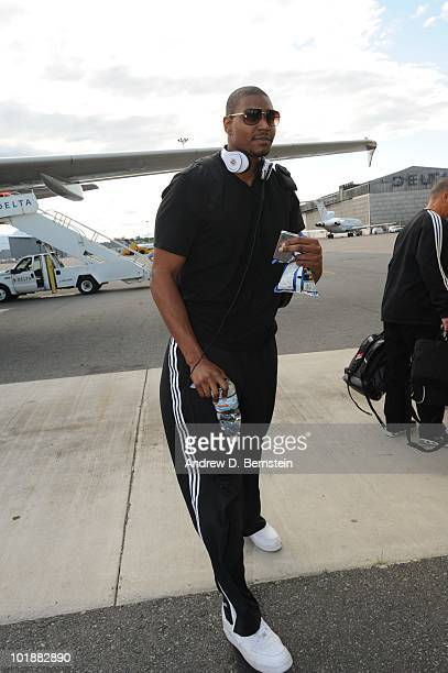 Andrew Bynum of the Los Angeles Lakers boards the team plane to Boston for Game Three of the 2010 NBA Finals against the Boston Celtics on June 7...