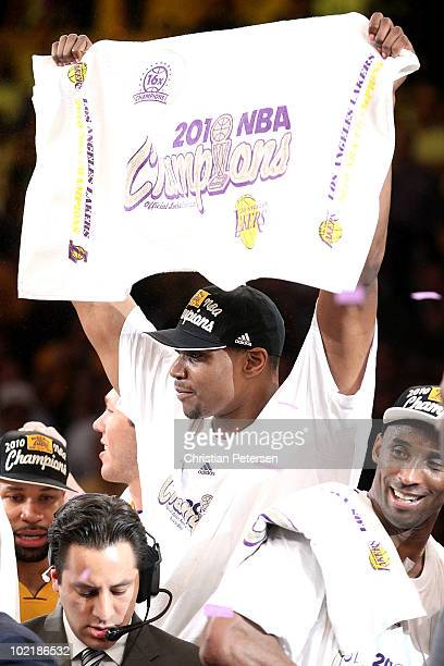 Andrew Bynum of the Los Angeles Lakers celebrates after the Lakers defeated the Boston Celtics in Game Seven of the 2010 NBA Finals at Staples Center...