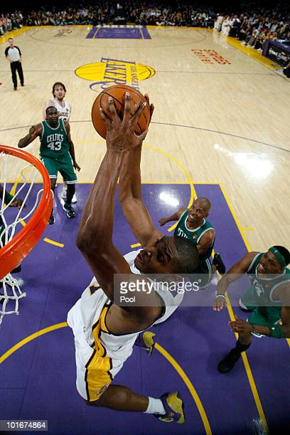 Andrew Bynum of the Los Angeles Lakers goes to the basket against the Boston Celtics in Game Two of the 2010 NBA Finals at Staples Center on June 6...