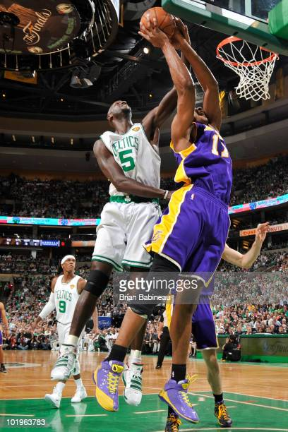 Andrew Bynum of the Los Angeles Lakers goes up for a dunk against Kevin Garnett of the Boston Celtics in Game Four of the 2010 NBA Finals on June 10...