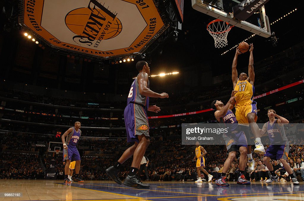 Andrew Bynum #17 of the Los Angeles Lakers goes up for a shot against the Phoenix Suns in Game One of the Western Conference Finals during the 2010 NBA Playoffs at Staples Center on May 17, 2010 in Los Angeles, California.