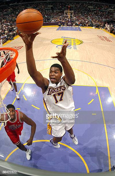 Andrew Bynum of the Los Angeles Lakers goes up for a shot during the game against the Chicago Bulls on November 20 2005 at Staples Center in Los...