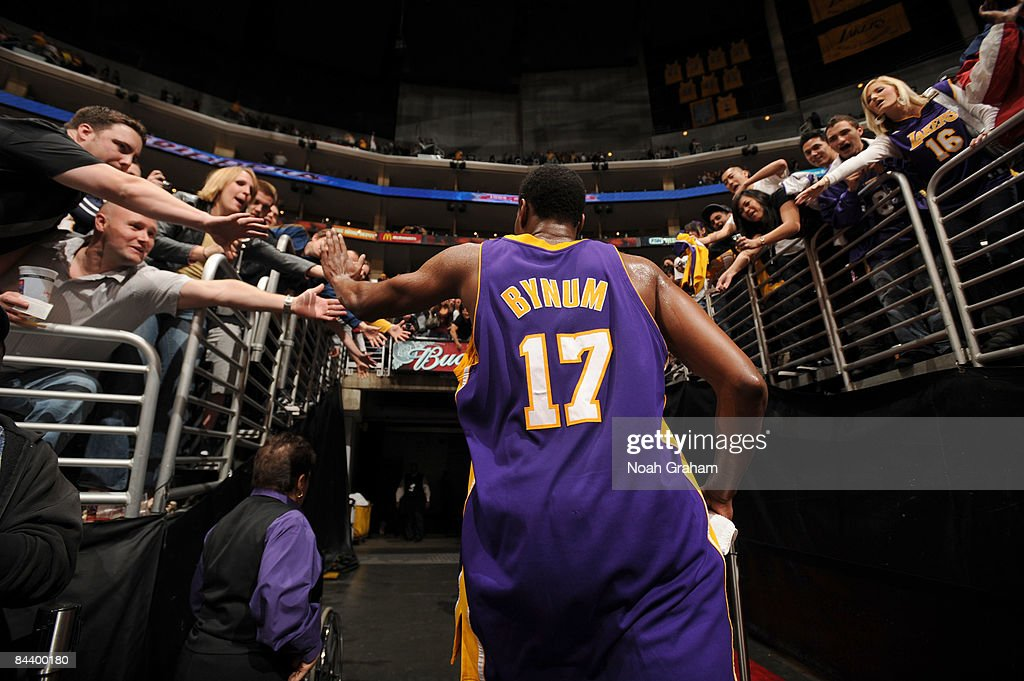 Andrew Bynum #17 of the Los Angeles Lakers leaves the court following his team's victory over the Los Angeles Clippers at Staples Center on January 21, 2009 in Los Angeles, California. Bynum finished with a career high 42 points and the Lakers defeated the Clippers 108-97.