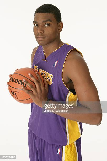 Andrew Bynum of the Los Angeles Lakers poses for a photo during his NBA Rookie Photo Shoot on September 16 2005 at IBM Palisades in Palisades New...