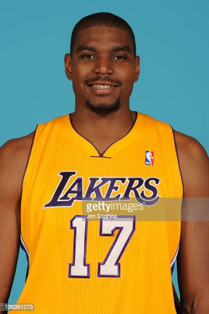 Andrew Bynum of the Los Angeles Lakers poses for a photo during Media Day at Toyota Sports Center on December 11 2011 in El Segundo California NOTE...