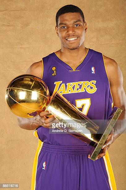 Andrew Bynum of the Los Angeles Lakers poses for a portrait after defeating the Orlando Magic in Game Five of the 2009 NBA Finals at Amway Arena on...