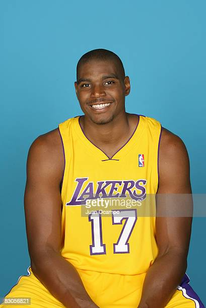 Andrew Bynum of the Los Angeles Lakers poses for a portrait during NBA Media Day on September 29 2008 at the Toyota Sports Center in El Segundo...