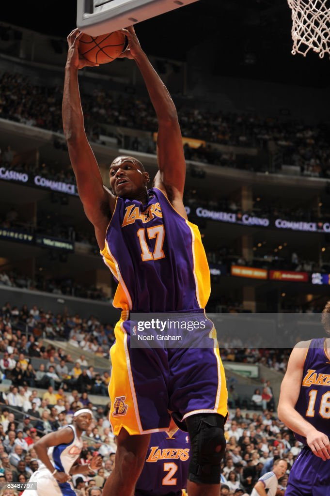 Andrew Bynum #17 of the Los Angeles Lakers pulls down a rebound the Los Angeles Clippers at Staples Center on October 29, 2008 in Los Angeles, California.