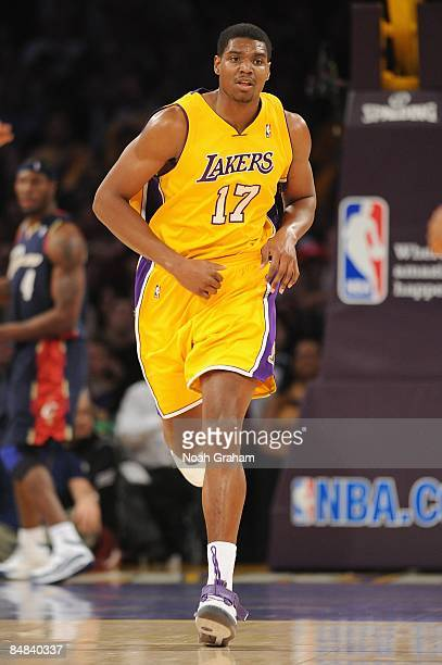 Andrew Bynum of the Los Angeles Lakers runs upcourt during the game against the Cleveland Cavaliers at Staples Center on January 19 2009 in Los...