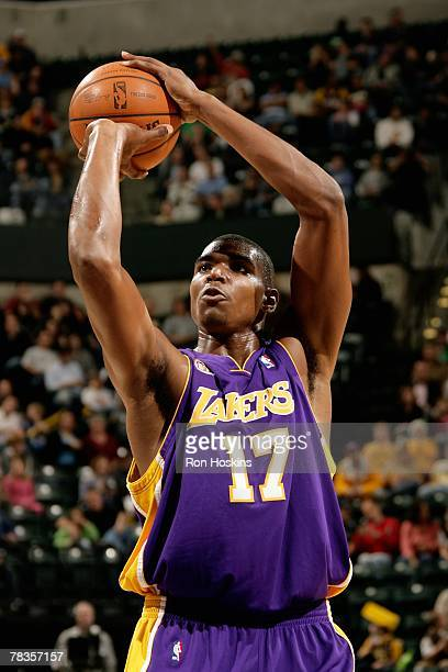 Andrew Bynum of the Los Angeles Lakers shoots a free throw during the game against the Indiana Pacers on November 20, 2007 at Conseco Fieldhouse in...