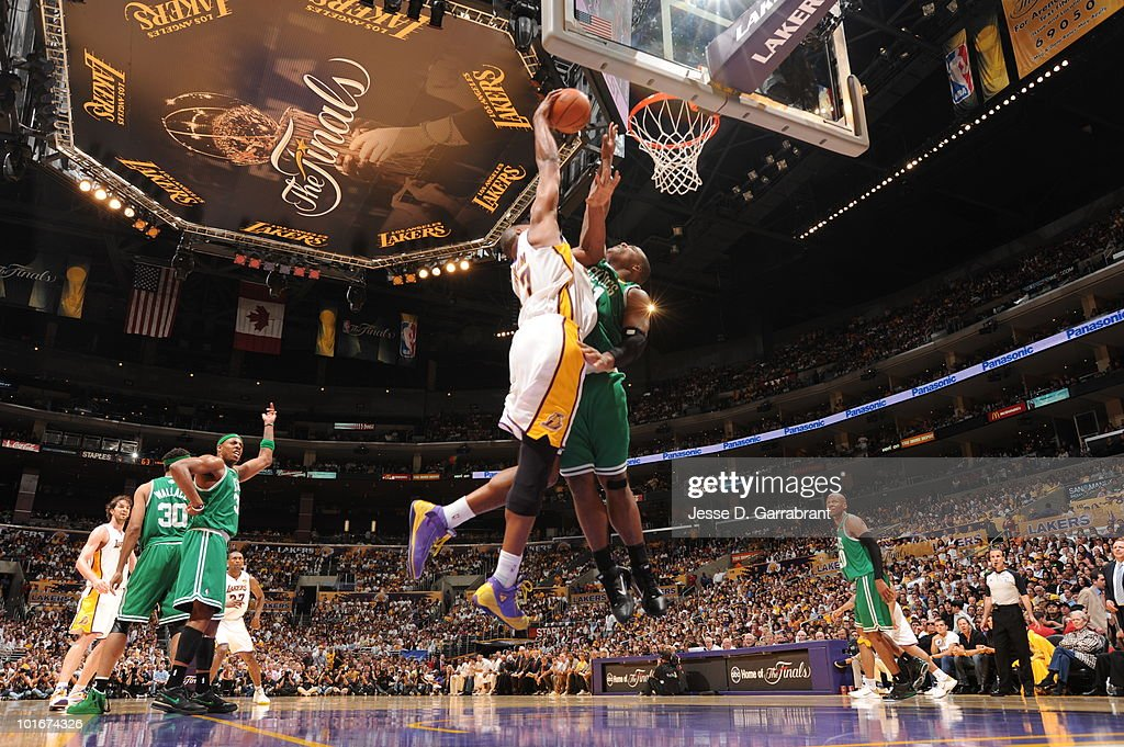 Andrew Bynum #17 of the Los Angeles Lakers shoots against Glen Davis #11 of the Boston Celtics in Game Two of the 2010 NBA Finals on June 6, 2010 at Staples Center in Los Angeles, California.