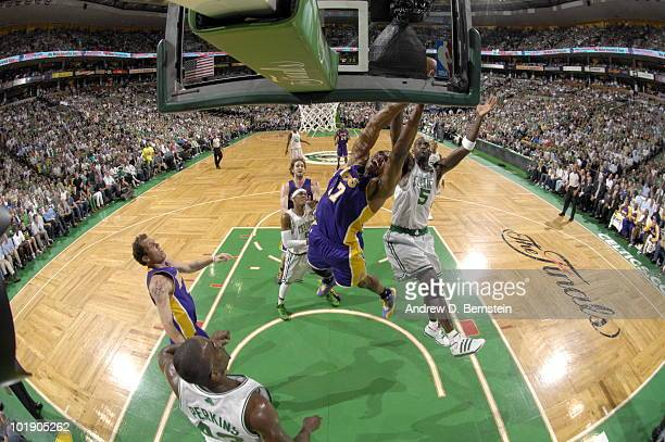 Andrew Bynum of the Los Angeles Lakers shoots against Kevin Garnett of the Boston Celtics in Game Three of the 2010 NBA Finals on June 8 2010 at TD...