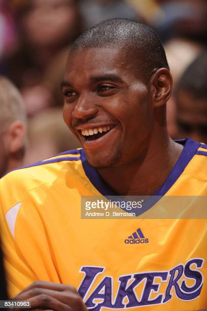 Andrew Bynum of the Los Angeles Lakers sits on the bench during a game against the Charlotte Bobcats on October 23 2008 at Honda Center in Anaheim...