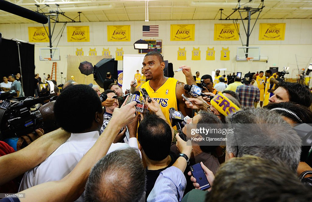 Andrew Bynum #17 of the Los Angeles Lakers speaks to reporters at a news conference during Media Day at the Toyota Center on September 25, 2010 in El Segundo, California.