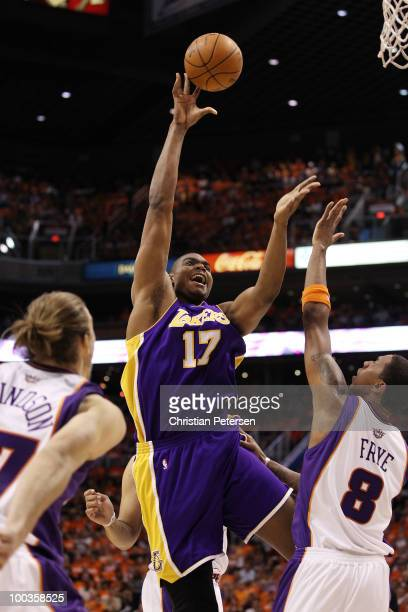 Andrew Bynum of the Los Angeles Lakers takes a shot against Channing Frye in the first half of Game Three of the Western Conference Finals during the...