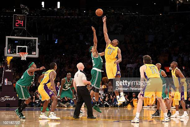 Andrew Bynum of the Los Angeles Lakers tips off against Rasheed Wallace of the Boston Celtics in Game Seven of the 2010 NBA Finals at Staples Center...