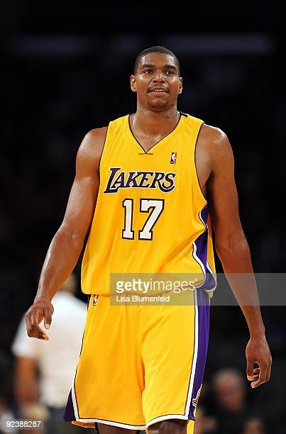 Andrew Bynum of the Los Angeles Lakers walls upcourt during a preseason game against the Charlotte Bobcats at Staples Center on October 17 2009 in...