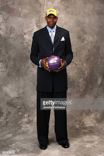Andrew Bynum selected poses for a portrait during the 2005 NBA Draft on June 28 2005 at the Theater at Madison Square Garden in New York City NOTE TO...
