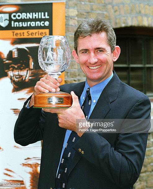 Andrew Caddick of England with the Cornhill Player of the Year Award in 2000
