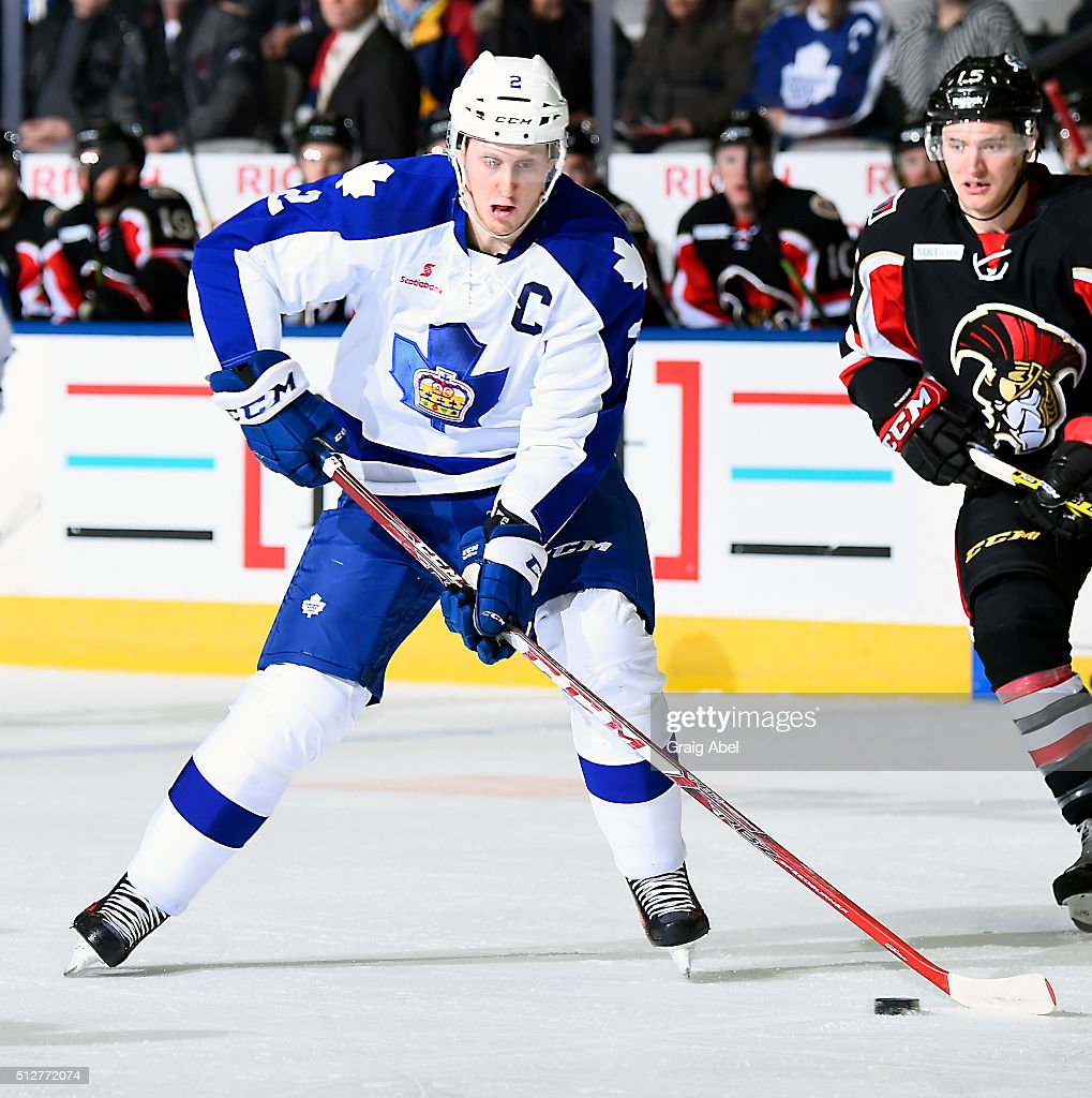 Andrew Campbell #2 of the Toronto Marlies carries the puck up ice against the Binghamton Senators during AHL game action on February 24, 2016 at Ricoh Coliseum in Toronto, Ontario, Canada.
