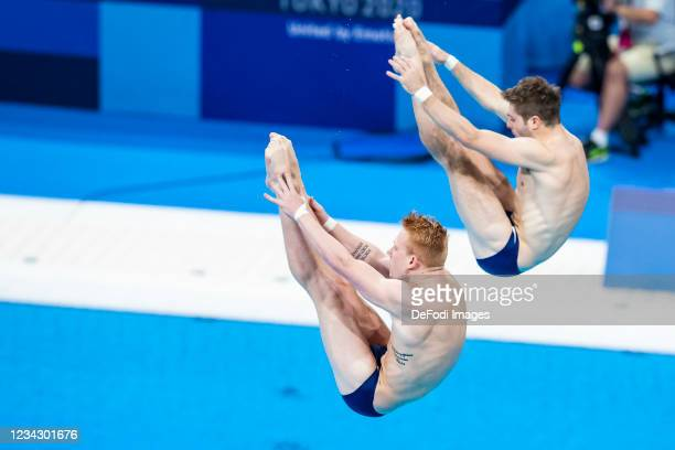 Andrew Capobianco of USA and Michael Hixon of USA compete during the Men's Synchronised 3m Springboard Final on day five of the Tokyo 2020 Olympic...