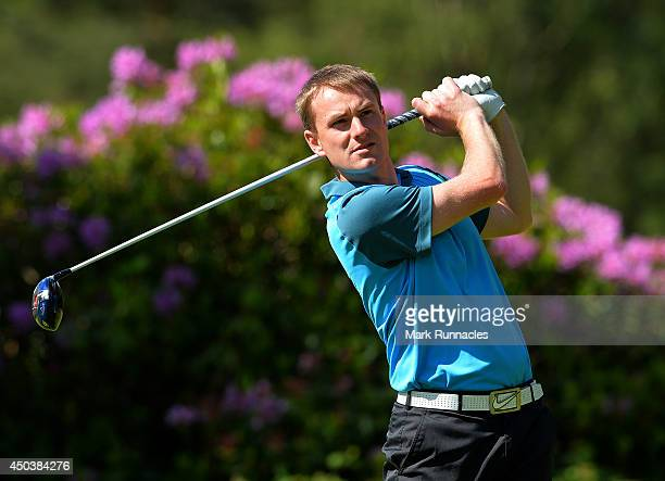 Andrew Carlton of Paisley Golf Club on the 11th tee during the Lombard Trophy Scotland Regional Qualifier at Ladybank Golf Club on June 10 2014 in...