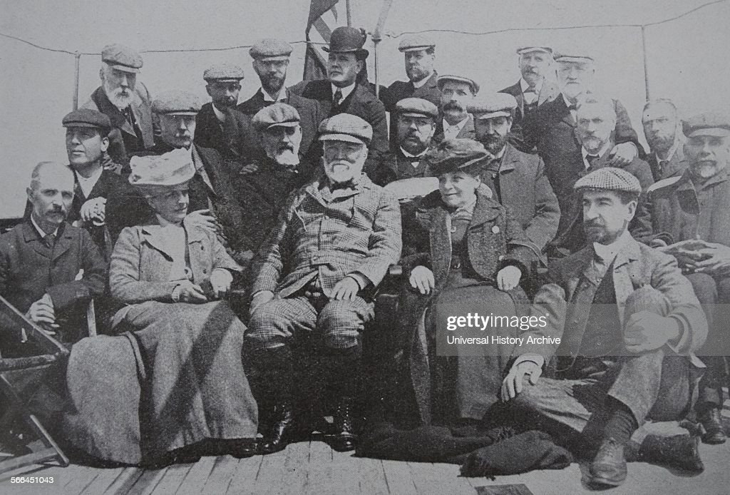 Andrew Carnegie, with members of the Carnegie Trust. : News Photo
