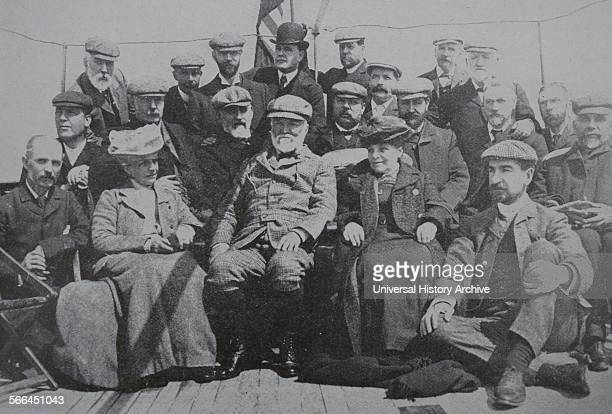Andrew Carnegie a Scottish American industrialist seen here sitting in the centre with members of the Carnegie Trust which he created