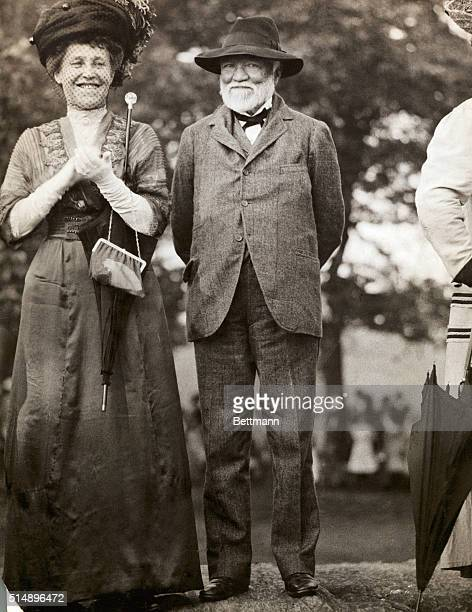 Andrew Carnegie Industrialist and humanitarian at Children's Playground Standing next to him is his wife Louise Whitfield