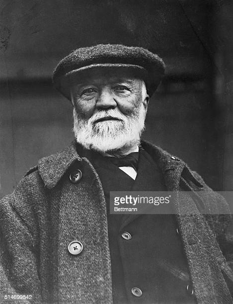 Andrew Carnegie industrialist and humanitarian Head and shoudlers photograph of him aboard ship