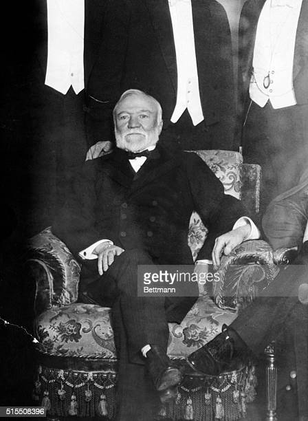 Andrew Carnegie Industrialist and humanitarian Photograph of him at the Peace conference