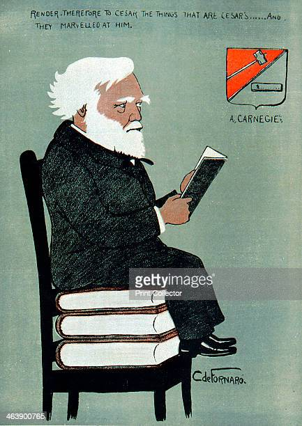 Andrew Carnegie ScottishAmerican industrialist and philanthropist Public Libraries Cartoon published Paris 1903