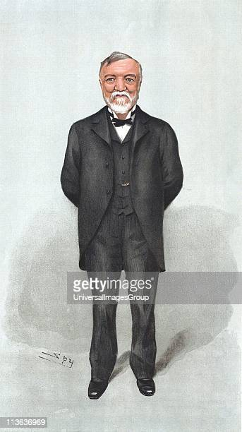Andrew Carnegie Scottishborn American philanthropist and industrialist who gave a£70000000 to good causes Spy cartoon from Vanity Fair London 1903