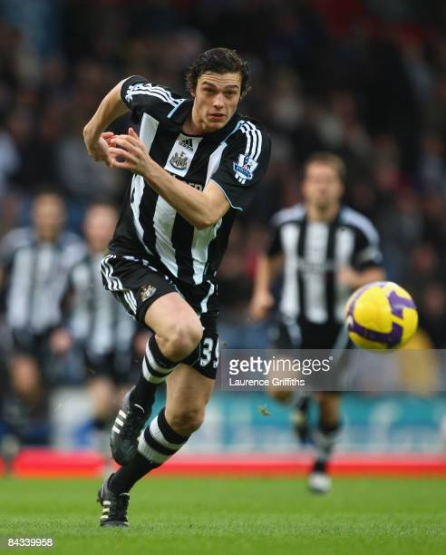 Andrew Carroll of Newcastle United in action during the Barclays Premier League match between Blackburn Rovers and Newcastle United at Ewood Park on...