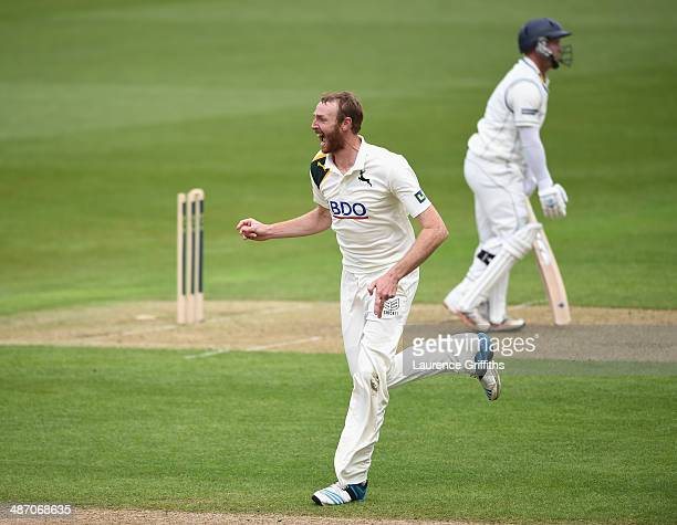 Andrew Carter of Nottinghamshire celebrates the wicket of Tim Ambrose of Warwickshire during day one of the LV County Championship division one match...