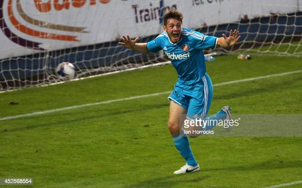 Andrew Cartwright of Sunderland celebrates after scoring the second goal during a PreSeason friendly match between Hartlepool United and Sunderland...