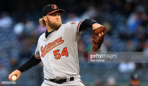 Andrew Cashner of the Baltimore Orioles delivers a pitch against the New York Yankees during the first inning of a game at Yankee Stadium on April 5...