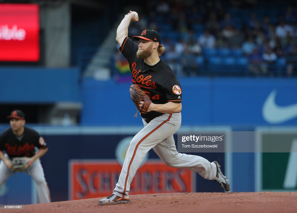 Andrew Cashner #54 of the Baltimore Orioles delivers a pitch in the first inning during MLB game action against the Toronto Blue Jays at Rogers Centre on June 8, 2018 in Toronto, Canada.
