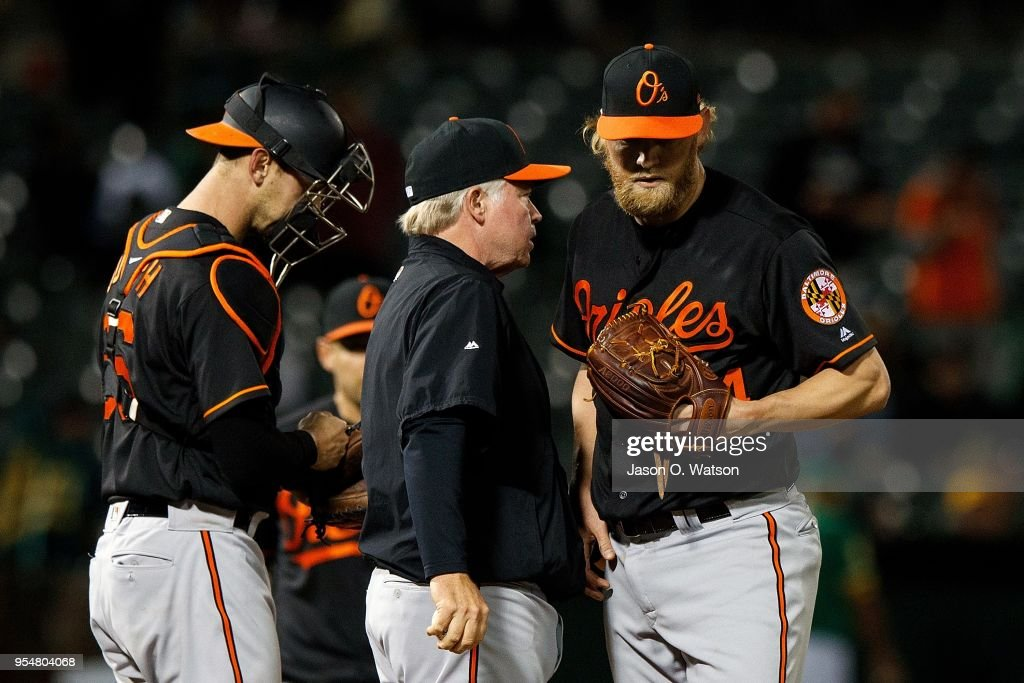 Andrew Cashner #54 of the Baltimore Orioles is relieved by manager Buck Showalter #26 during the fifth inning against the Oakland Athletics at the Oakland Coliseum on May 4, 2018 in Oakland, California. The Oakland Athletics defeated the Baltimore Orioles 6-4.