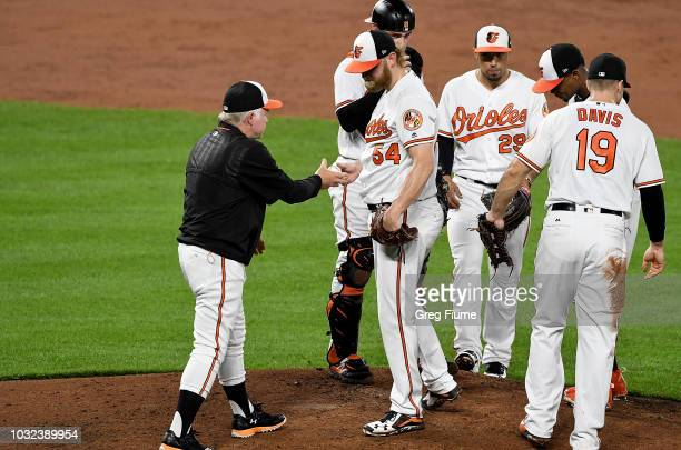 Andrew Cashner of the Baltimore Orioles is taken out of the game by manager Buck Showalter in the third inning against the Oakland Athletics at...